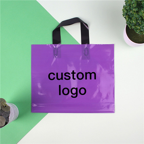 Custom Own Logo Biodegradable PE soft loop tote Plastic Shopping Bag