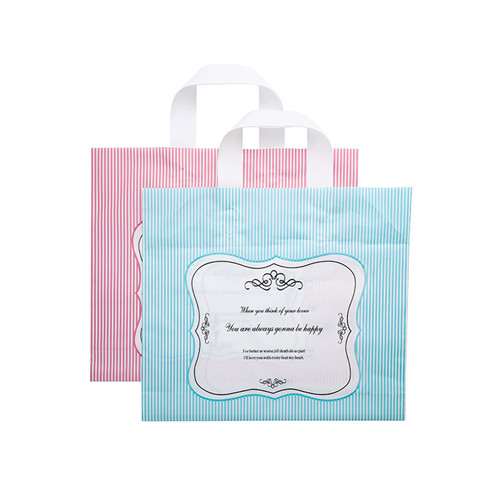 custom design logo print LDPE/HDPE soft loop handle bag for shopping