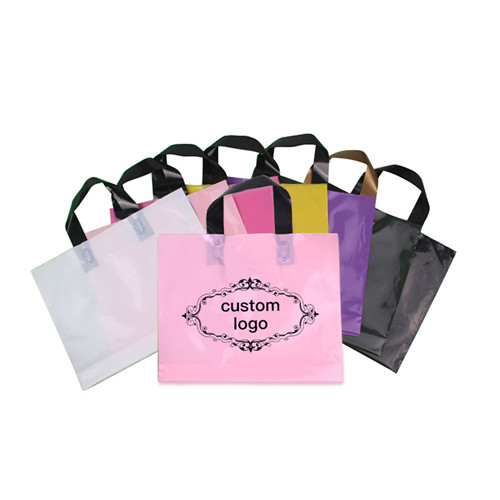 Customized Printed Plastic biodegradable Soft Loop Hand Gift Bags PE Colored tote Shopping Bag