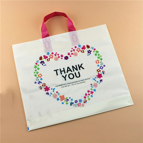 Wholesale Biodegradable clear shopping flexi soft loop tote plastic shopping bag