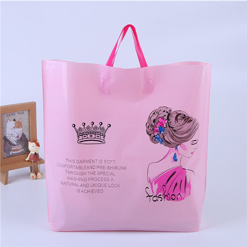 Customized print biodegradable soft loop tote plastic shopping bag