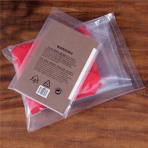 Factory Custom Clear Plastic Printed PE Self-Adhesive Bags With Suffocation Warning Available