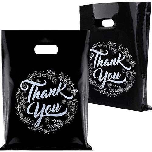 Custom Logo Printed Reusable Thank You Plastic Shopping Bag With Die Cut Handle