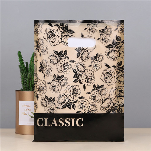 Hot Sale Die Cut PE Bag Logo Color Size Customized Beautiful Poly Shopping Bags Die Cut Handle