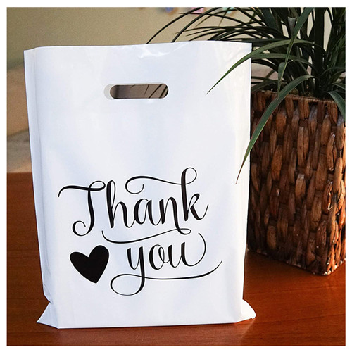 Custom Logo Printed Merchandise Die Cut Strong Handles Thank You White Plastic Bags With Personal Logo